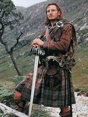 "Liam Neeson portraying Rob Roy wearing the large kilt, of filleadh mór - ""It's a kilt.  If I wore something under it THEN it would be a skirt""."