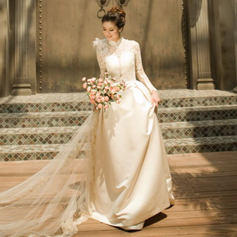 Turtleneck long sleeve lace wedding dress the royal bride for Modern vintage lace wedding dress
