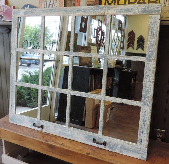 Extra Large Farmhouse Window Pane Mirror 46x36 Etsy Window