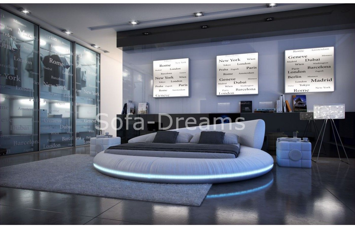 Led Raumbeleuchtung Design : Designer rundbett mezzo mit led beleuchtung apartments