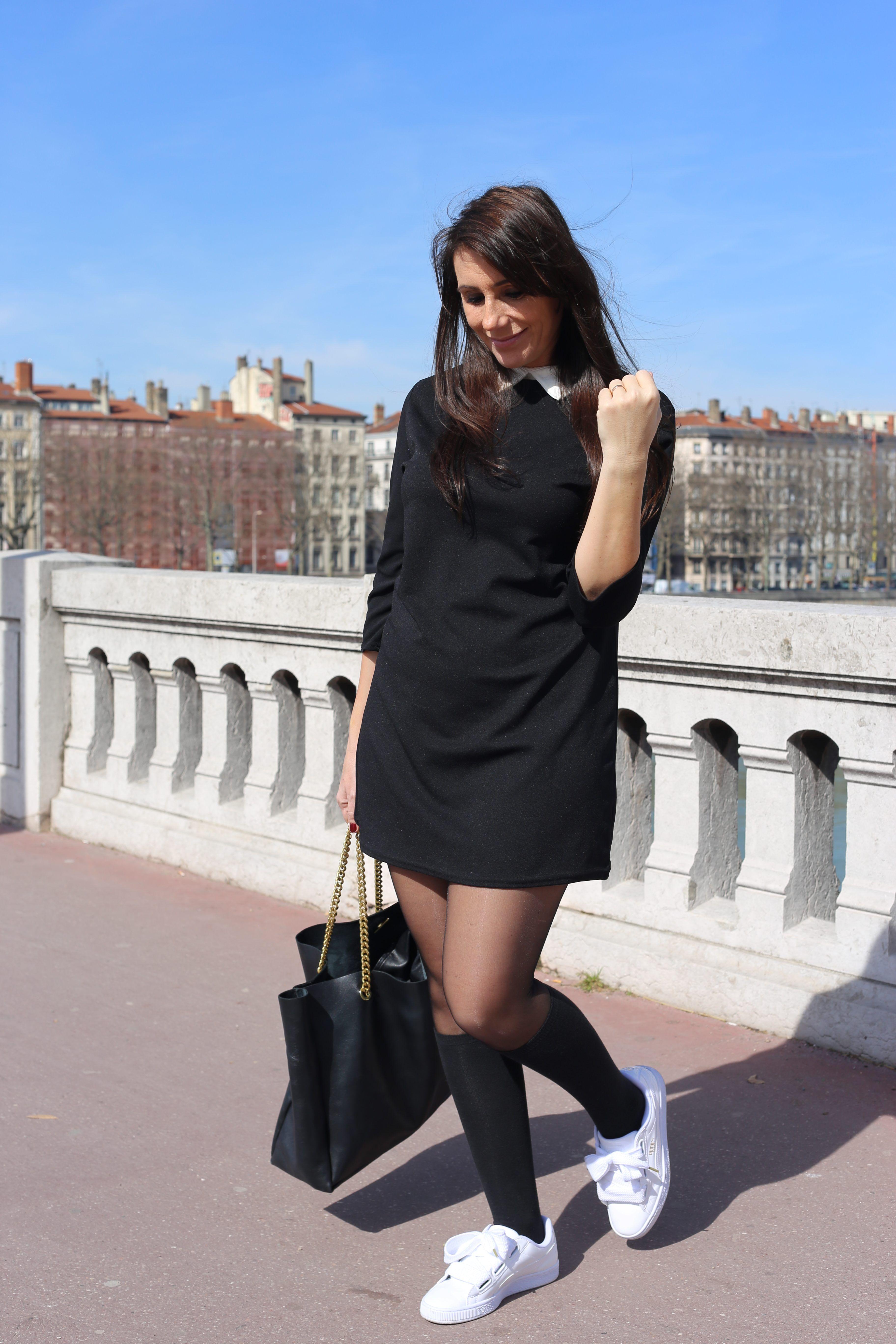 c444f6f61b4 La  tendance du moment   La petite  robe noire  col  claudine blanc !  Poussine l a shoppé chez  babou pour 14€