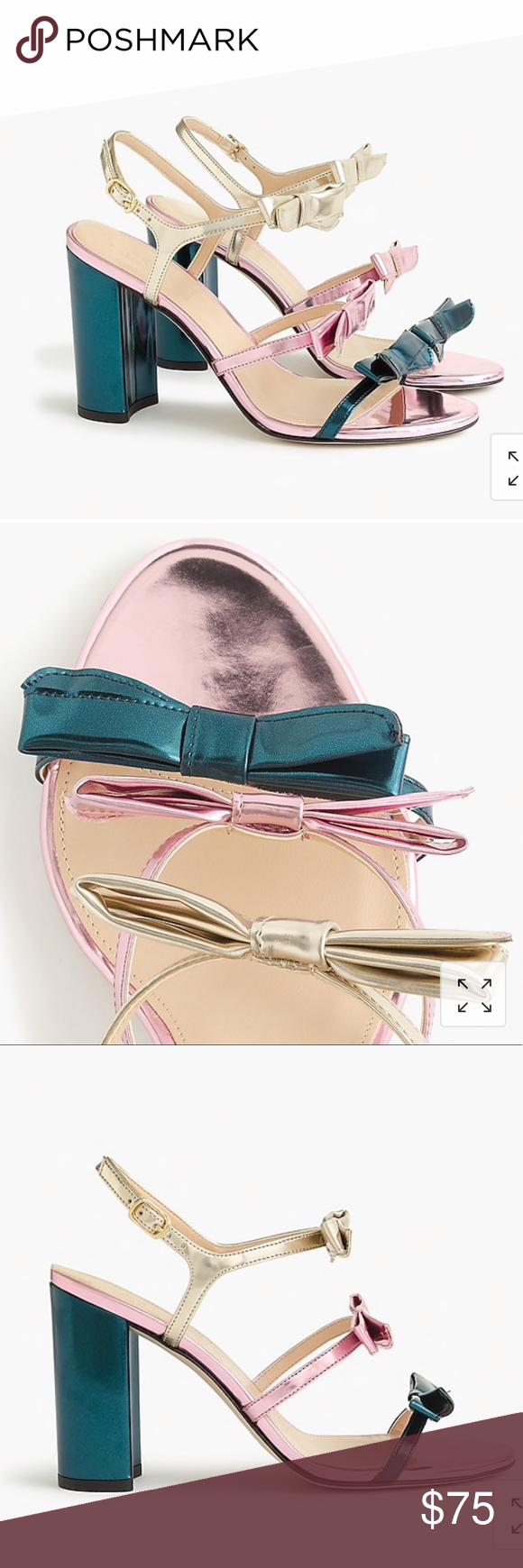 b982cc11d9b5 J.Crew Stella bow heels in metallic emerald Dainty bow-embellished straps