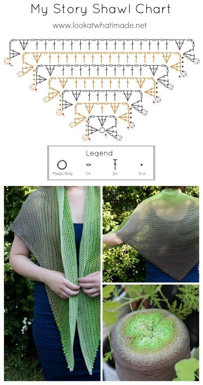 Diagrama Chal Triangular | chalinas | Pinterest | Chal, Ganchillo y ...