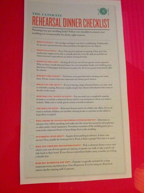 Rehearsal Dinner Checklist