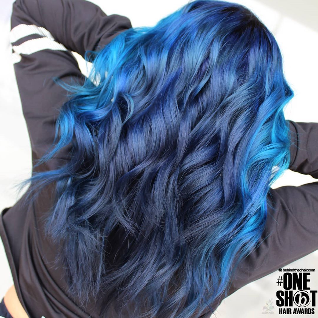 Vivid Color Hair Specialist On Instagram Denim Blue With A Strip Of Neon Blue In The
