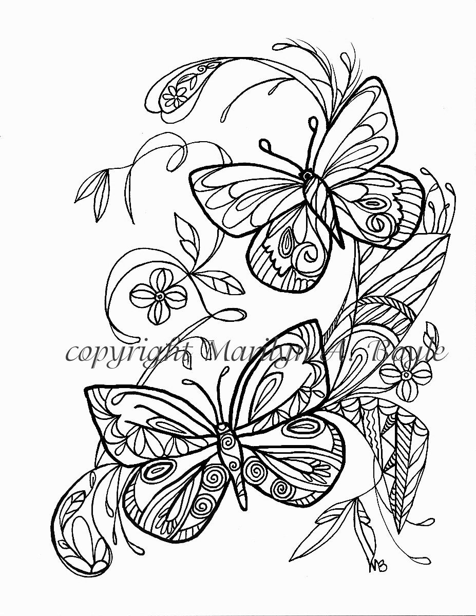 coloring page butterflies flowers garden zentangle