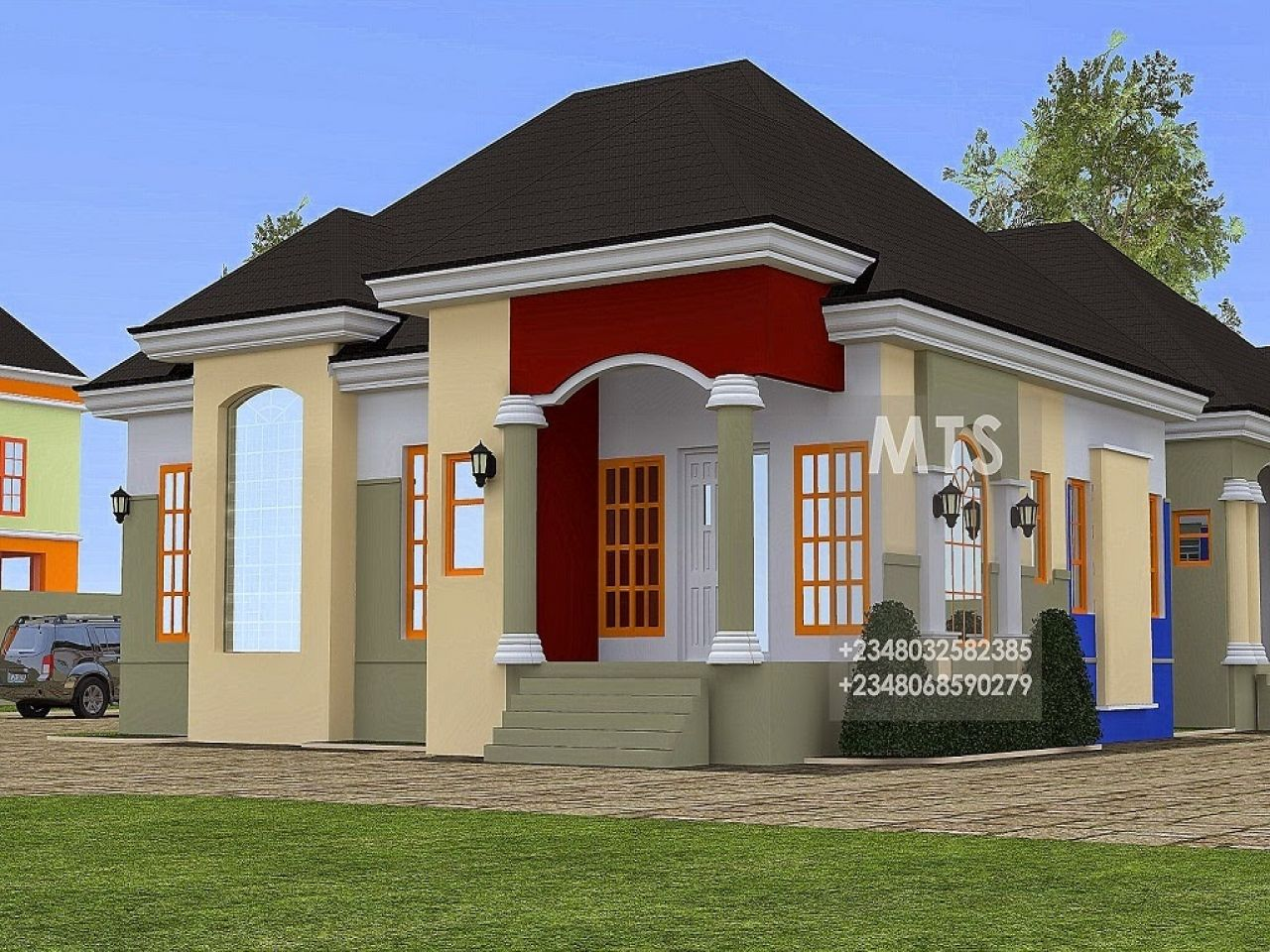 2 Bedroom Bungalow Design In Nigeria House Front Design Bungalow House Design Bungalow Design