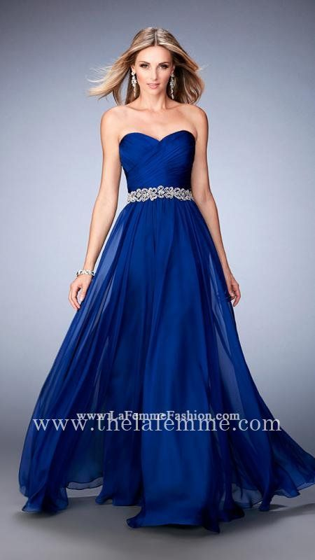 Marine Blue La Femme 22786 A Line Strapless Full Length Prom Dresses ...