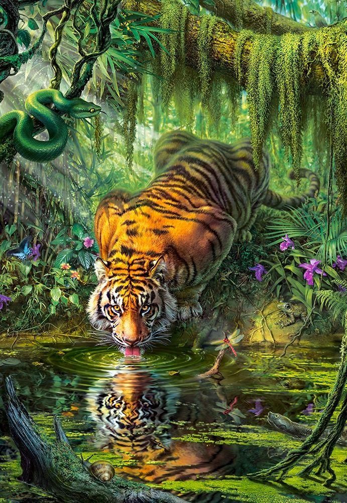 Tigre dans la Jungle - 1000 pièces CASTORLAND | Art des ...