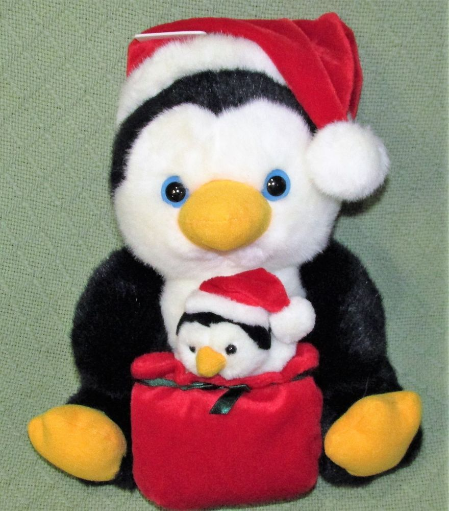 Walmart CHRISTMAS PENGUIN with BABY Santa Hat Plush