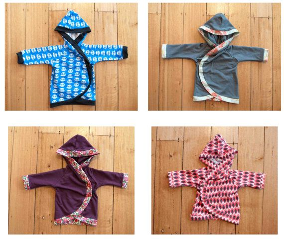 Hooded baby kimono wrap PDF sewing pattern - baby hoodie in sizes 0 ...
