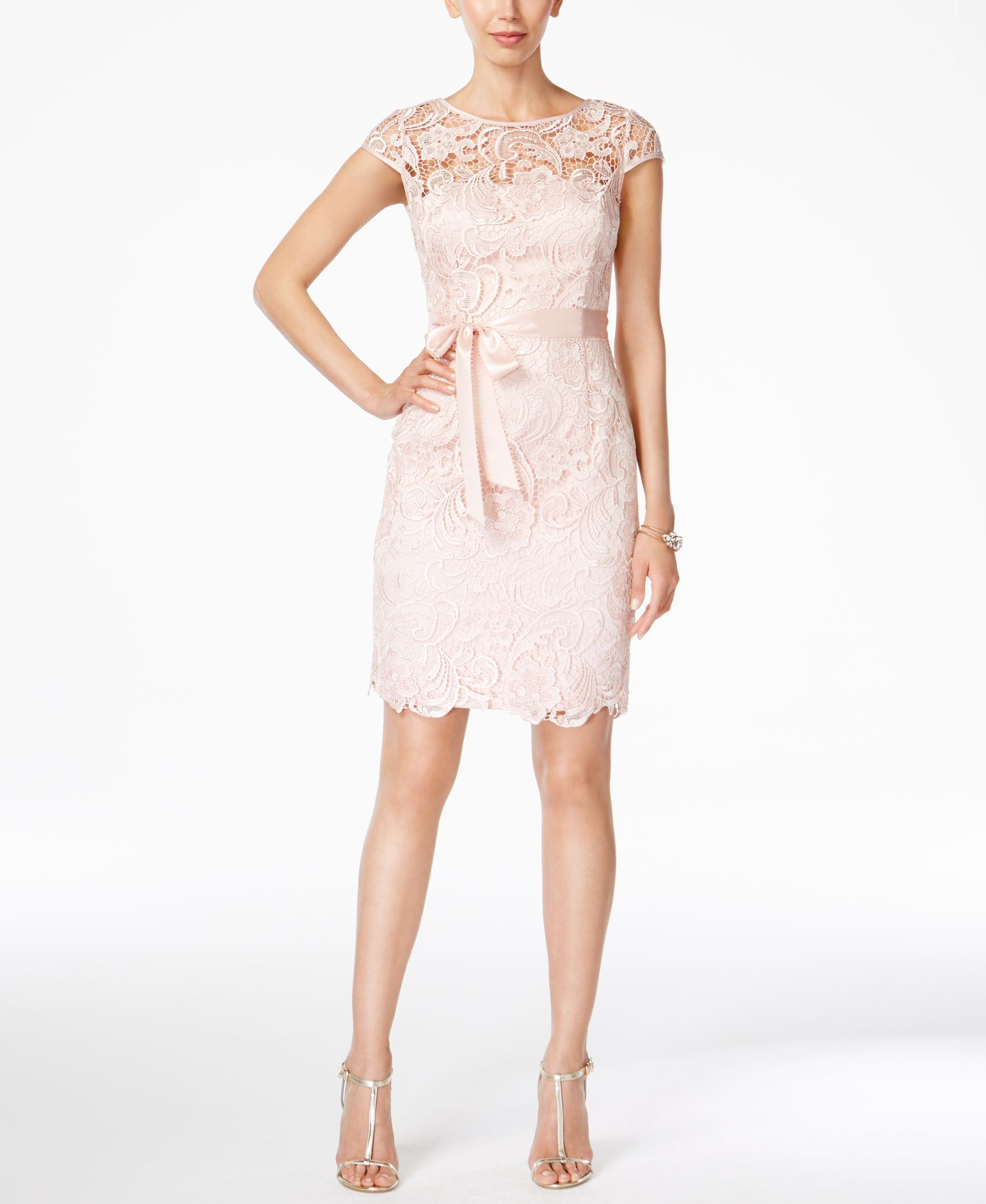 Adrianna Papell Lace Cap-Sleeve Illusion Sheath Dress | Shops ...