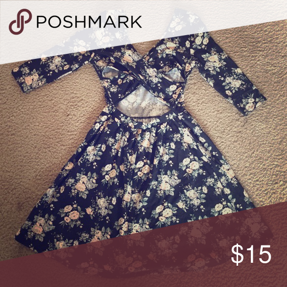 Floral dress Short black dress with pink roses embedded with dark green leaves Forever 21 Dresses Long Sleeve