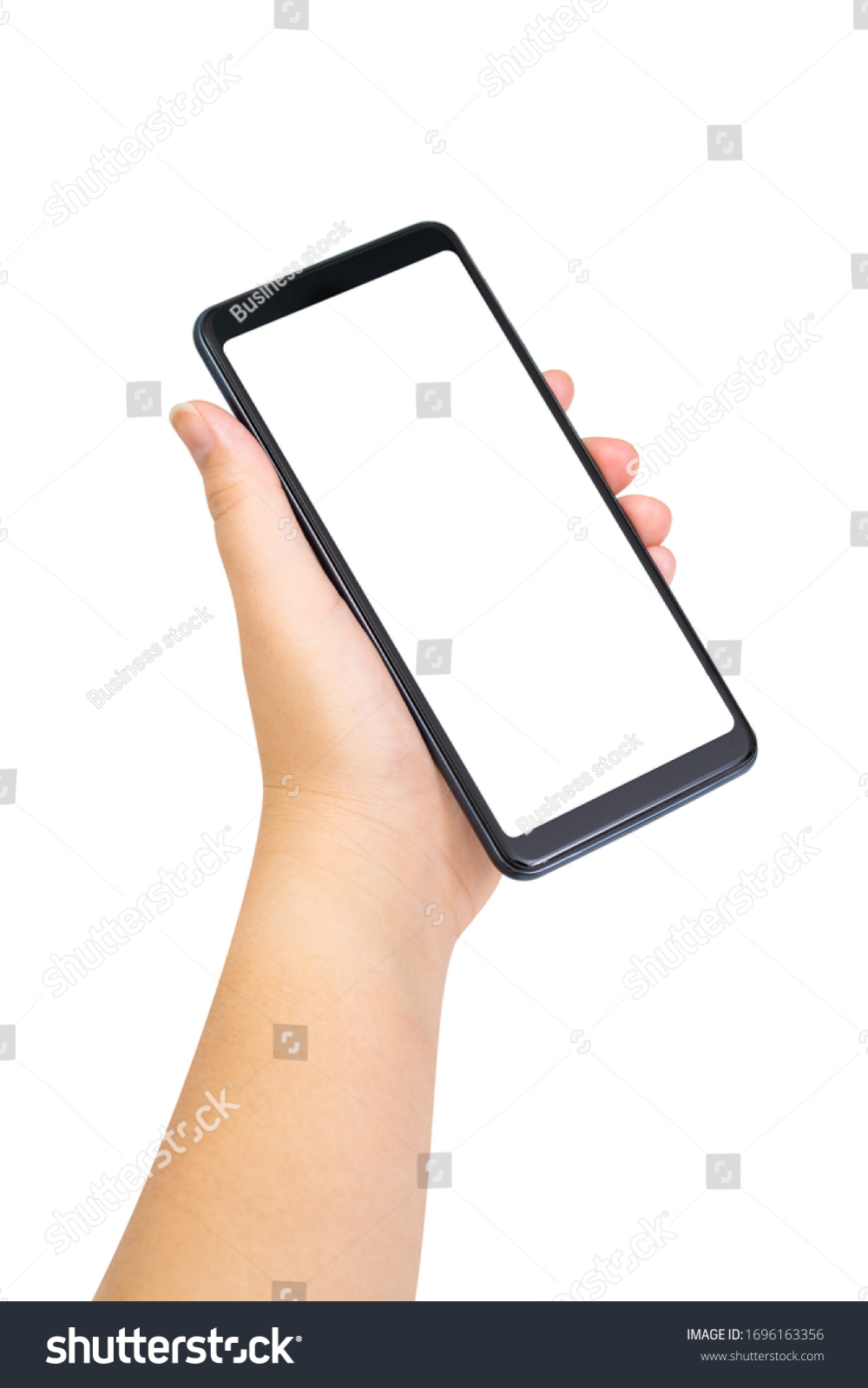 Woman Hand Holding Black Smartphone Blank Stock Photo Edit Now 1696163356 Photo Editing Stock Photos Smartphone