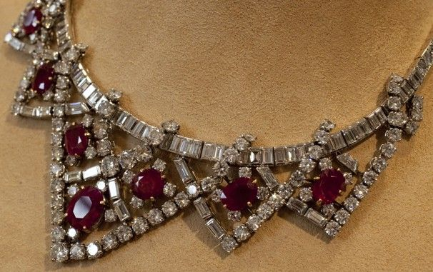 Elizabeth Taylor's ruby and diamond necklace, a gift from Mike Todd, estimated at $200,000-$300,000, is shown in this photograph at Christie's. (Richard Drew - AP)