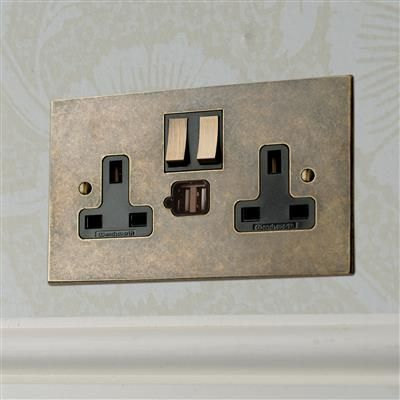 2 Gang Plug Socket With Usb Port Switches Sockets Plug Socket Sockets Modern Light Switches
