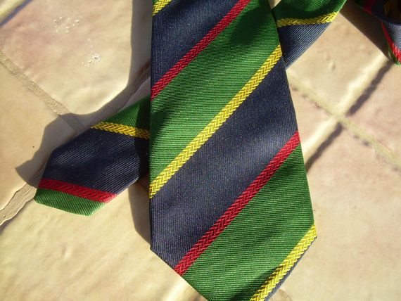Regimental striped Neck Tie French made by csclothes on Etsy