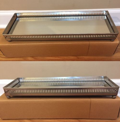 Other Jewelry Organizers 164372 New Pottery Barn Large Mirrored Dresser Top Tray Silver