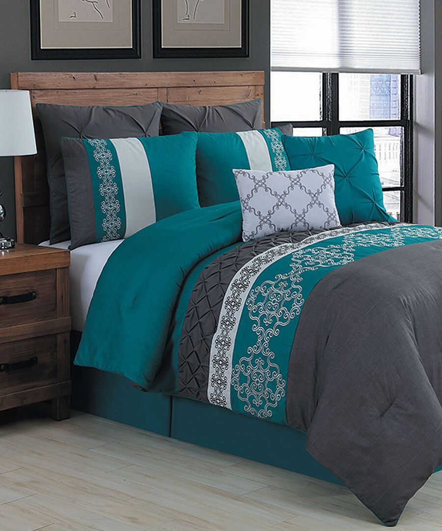 Zulily Home Decor: Look At This Teal Alessandra Eight-Piece Comforter Set On