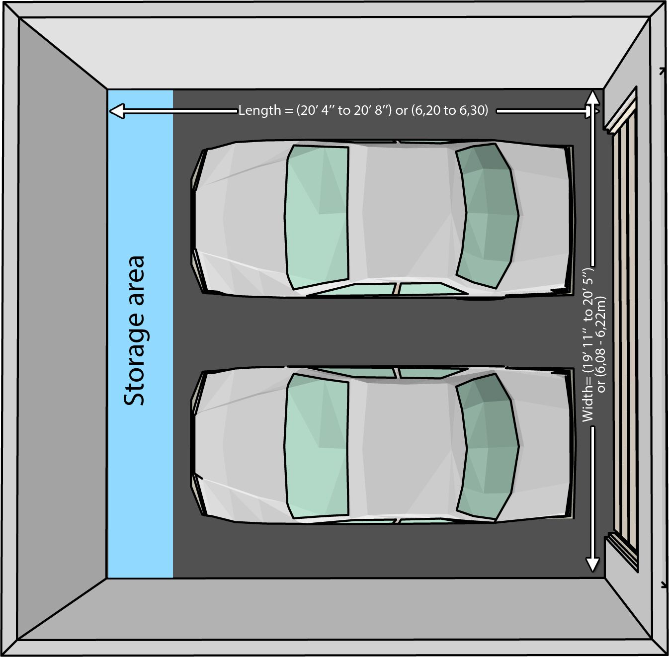 The Dimensions Of An One Car And A Two Car Garage Garage Dimensions Garage Door Dimensions Car Garage