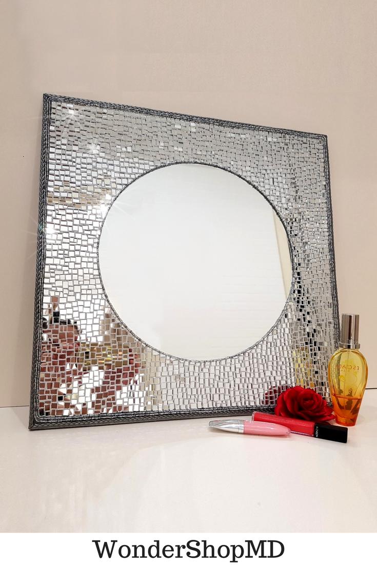 Square framed mirror Decorative mirror Wall mirror Mosaic mirror ...