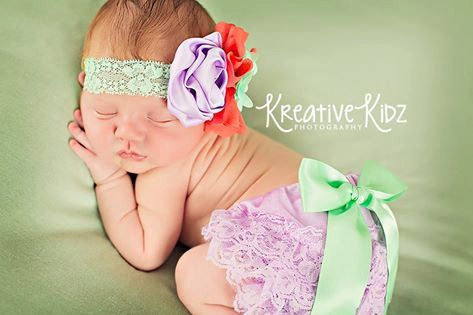 Newborn Lace bloomer set  Calliope  Lavender, mint coral outfit by MudpiesandPigtails, $21.95
