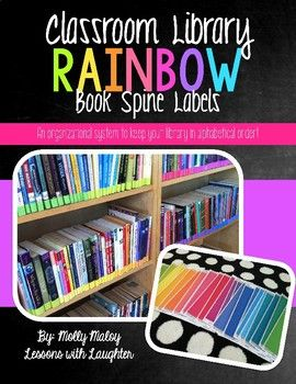 classroom library rainbow book spine labels teach pinterest