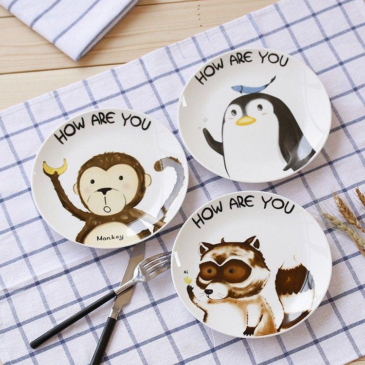New design cute ceramic plate. Cartoon dish. Animal pattern plate ...