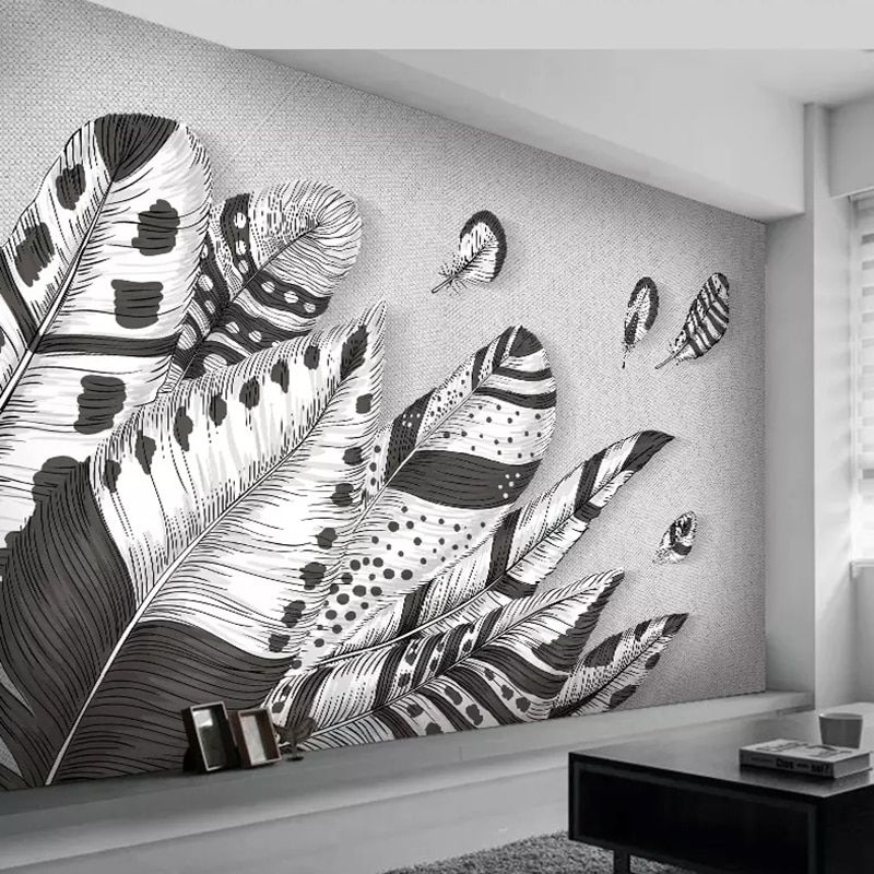 Custom 3d Wall Mural Wallpaper Abstract Modern Black White Feather Photo Art Wall Painting Living Wall Murals Painted Wall Painting Living Room Wall Painting