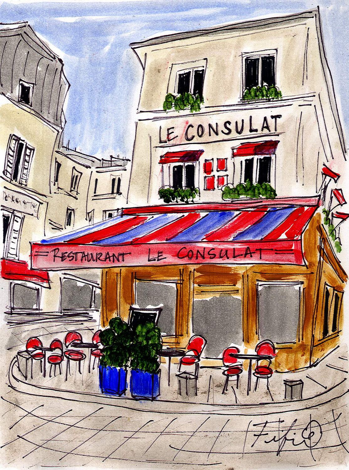 Le Consulat Cafe By Fifi Flowers Paris Illustration Paris Art