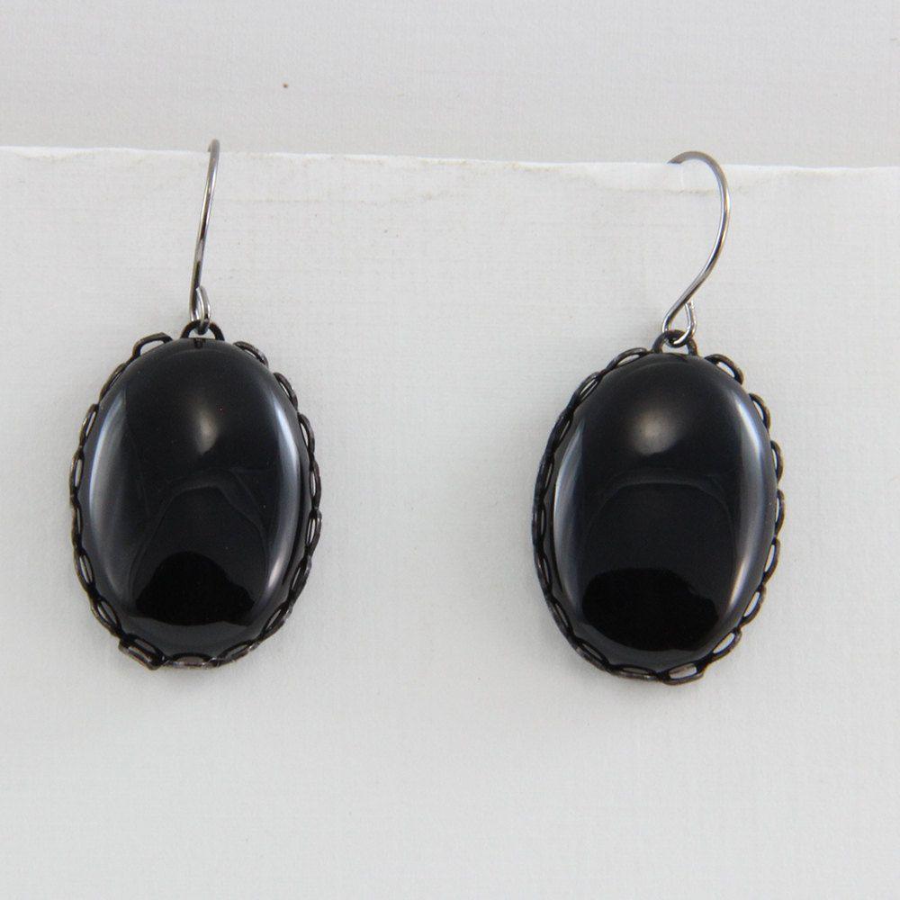 Handmade Black Onyx Earrings In Black Stone Mounts on Gunmetal Hooks Oscarcrow Original  Design by oscarcrow on Etsy