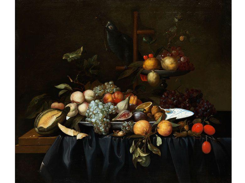 FRÜCHTESTILLLEBEN Öl auf Leinwand. Doubliert. 83 x 98 cm. Die unterschiedlichen Früchte wie Trauben, Zitrusfrüchte, Pfirsiche, Melonen, Feigen, Kirschen...