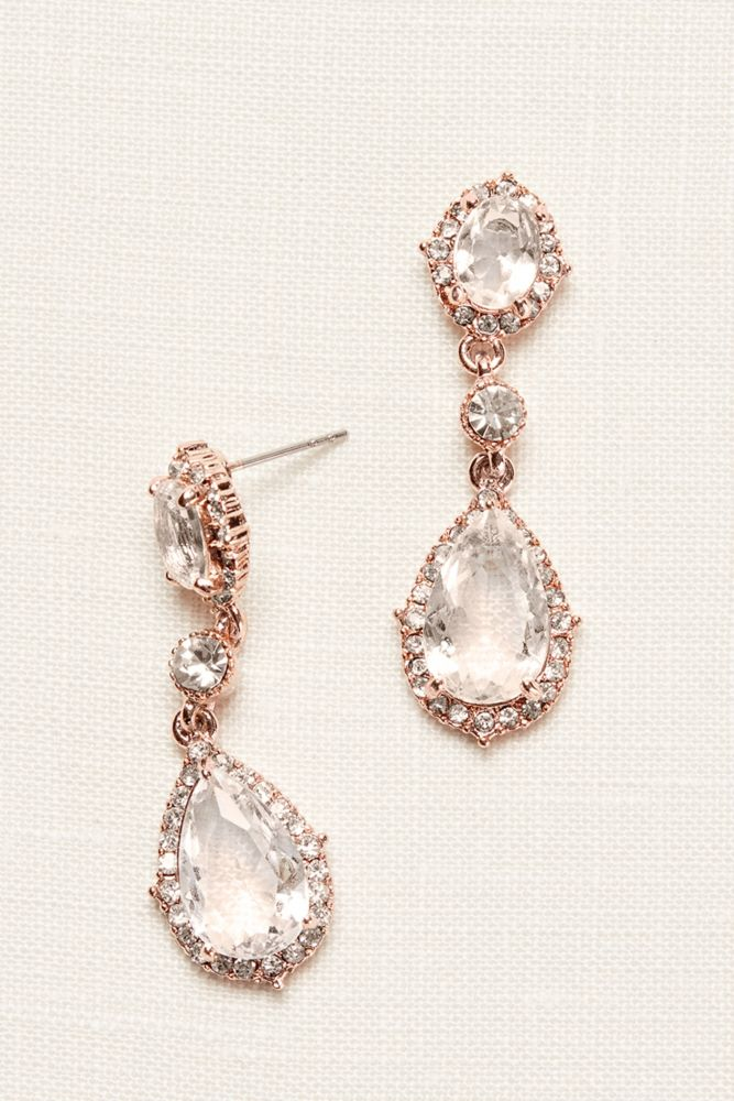 Filigree and Crystal Drop Earrings Style 60250E, Rose Gold
