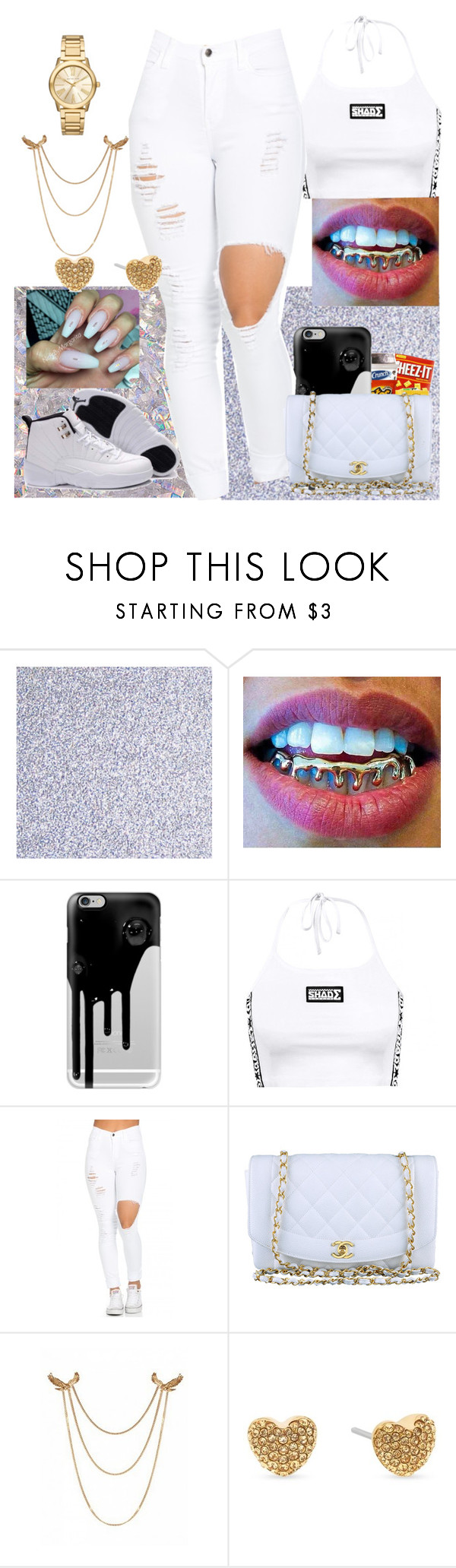 """Poppin on my all white"" by bigdaddy-ni ❤ liked on Polyvore featuring Retrò, Casetify, Chanel and Michael Kors"