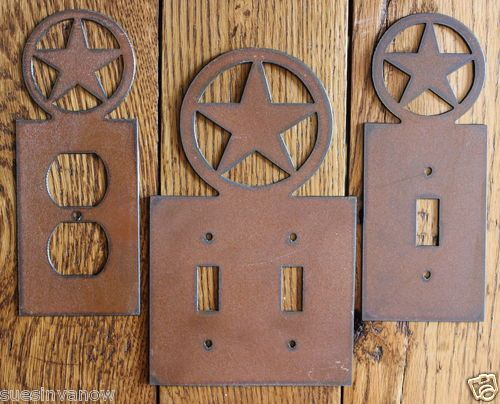 details about new western texas star outlet switch plate cover rustic metal decorator home - Home Decor Outlet