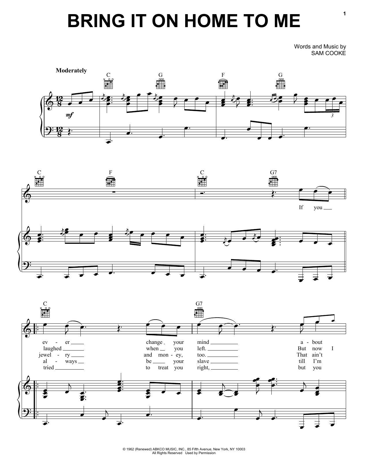 Sam Cooke Bring It On Home To Me Sheet Music Notes And Chords For
