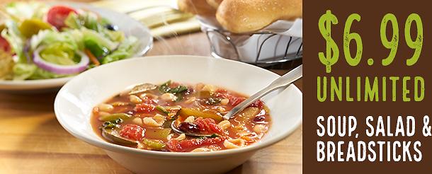 699 unlimited soup salad breadsticks lunch olive garden dealsplus - Olive Garden Soup Salad And Breadsticks