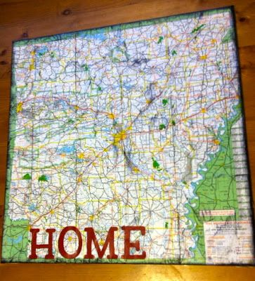 Heres to handy andy home state wall art state art pinterest make your own meaningful wall art with old maps canvas and mod podge gumiabroncs Gallery