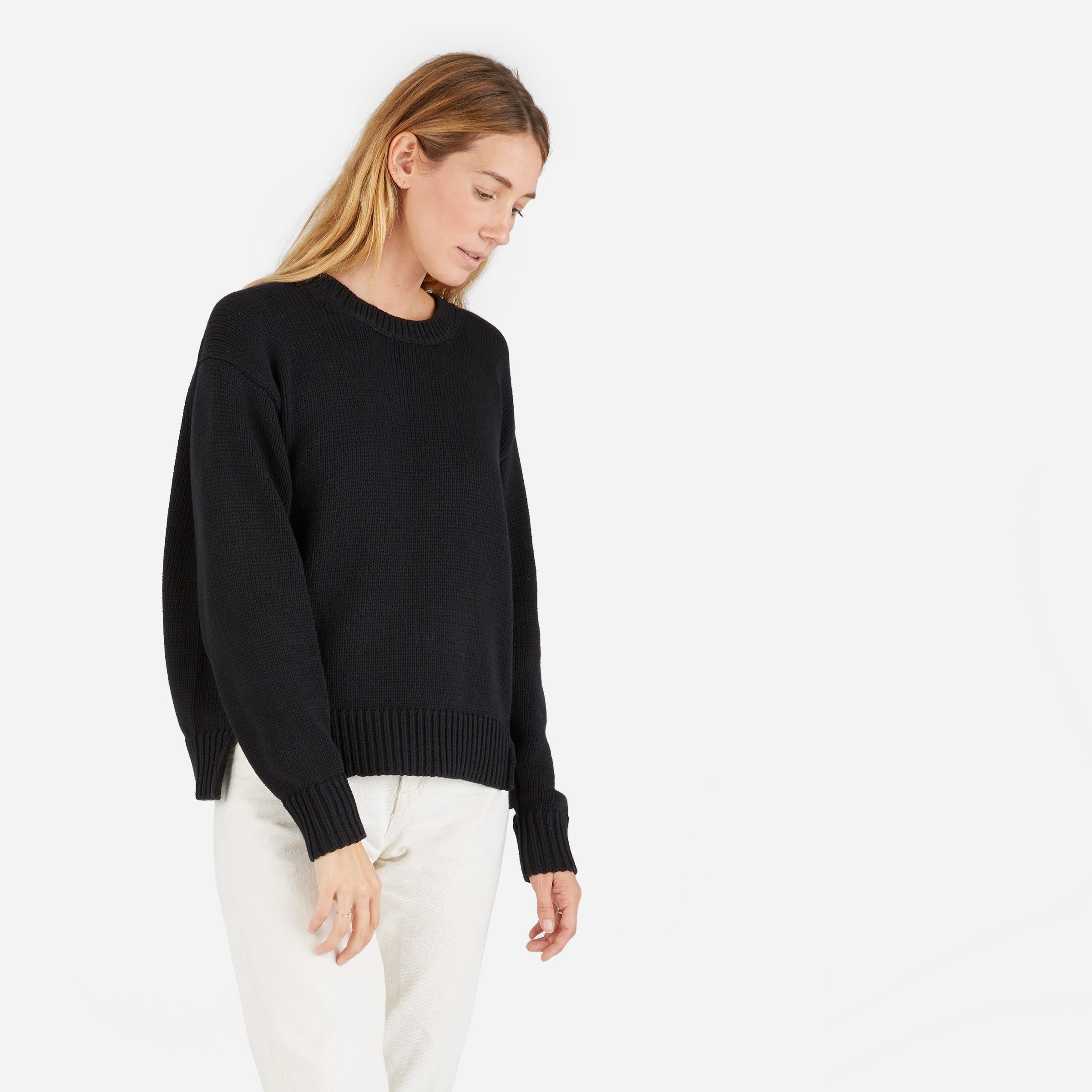 The Chunky Knit Cotton Crew | Cotton sweater, Cotton and Wardrobes