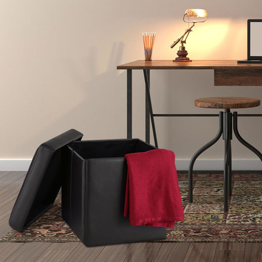 Langria Square Upholstered Ottoman Cube Footrest Stool
