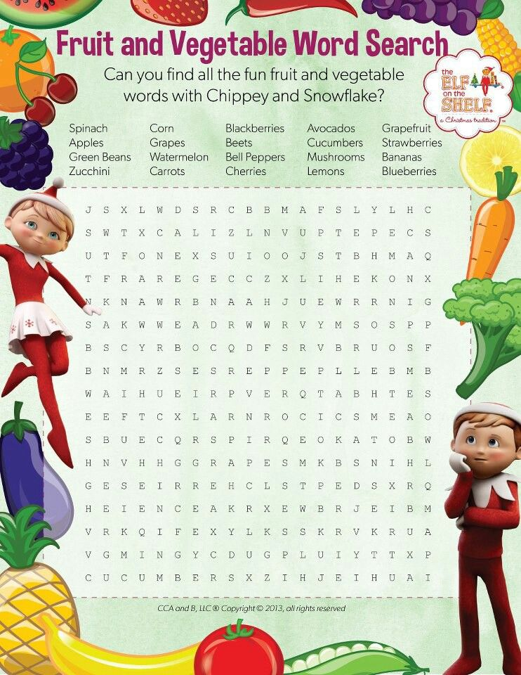 Elf On The Shelf Fruit And Veggie Word Search Fruits For Kids Beets Cucumber Best Fruits