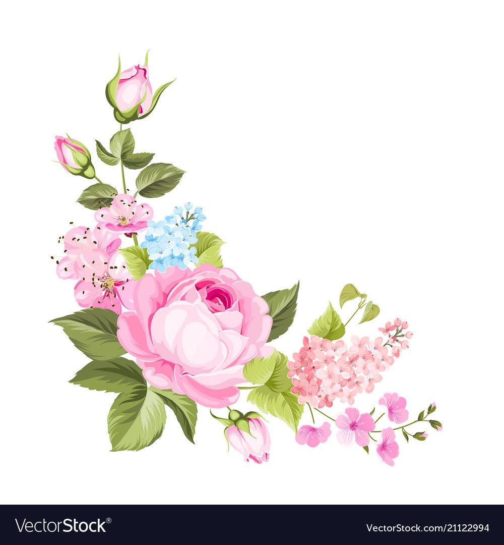 Spring flowers bouquet vector image on VectorStock in 2020