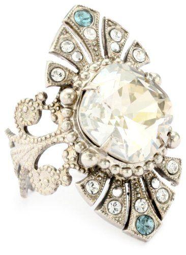 """Sorrelli """"Pewter"""" Crystal Estate Inspired Adjustable Silver-"""