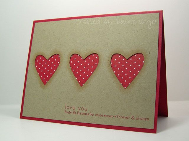 handmade Valentine ... comfortable feel ... kraft with three negative space hearts backed with red polka dot paper ... like this card!!