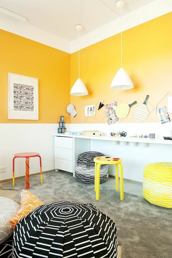 bunt gelb frisch lustig kinderzimmer design … | Pinteres… | {Wandfarbe kinderzimmer 95}
