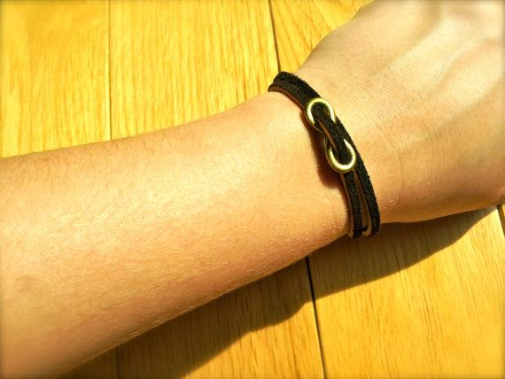 Genuine Dark Leather Infinity Bracelet / Antique Bronze by dgowin, $14.00