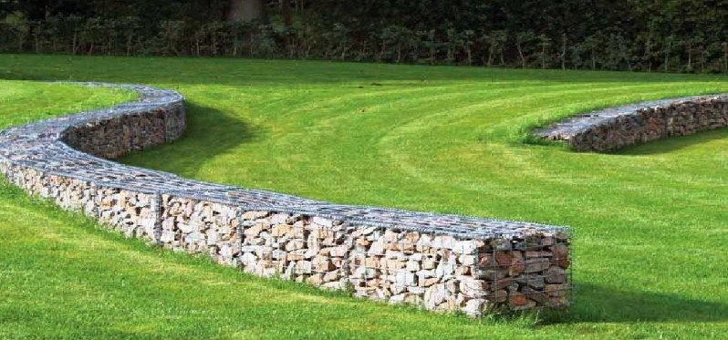 Curved gabion retaining walls gabion ideas pinterest for Curved garden wall designs