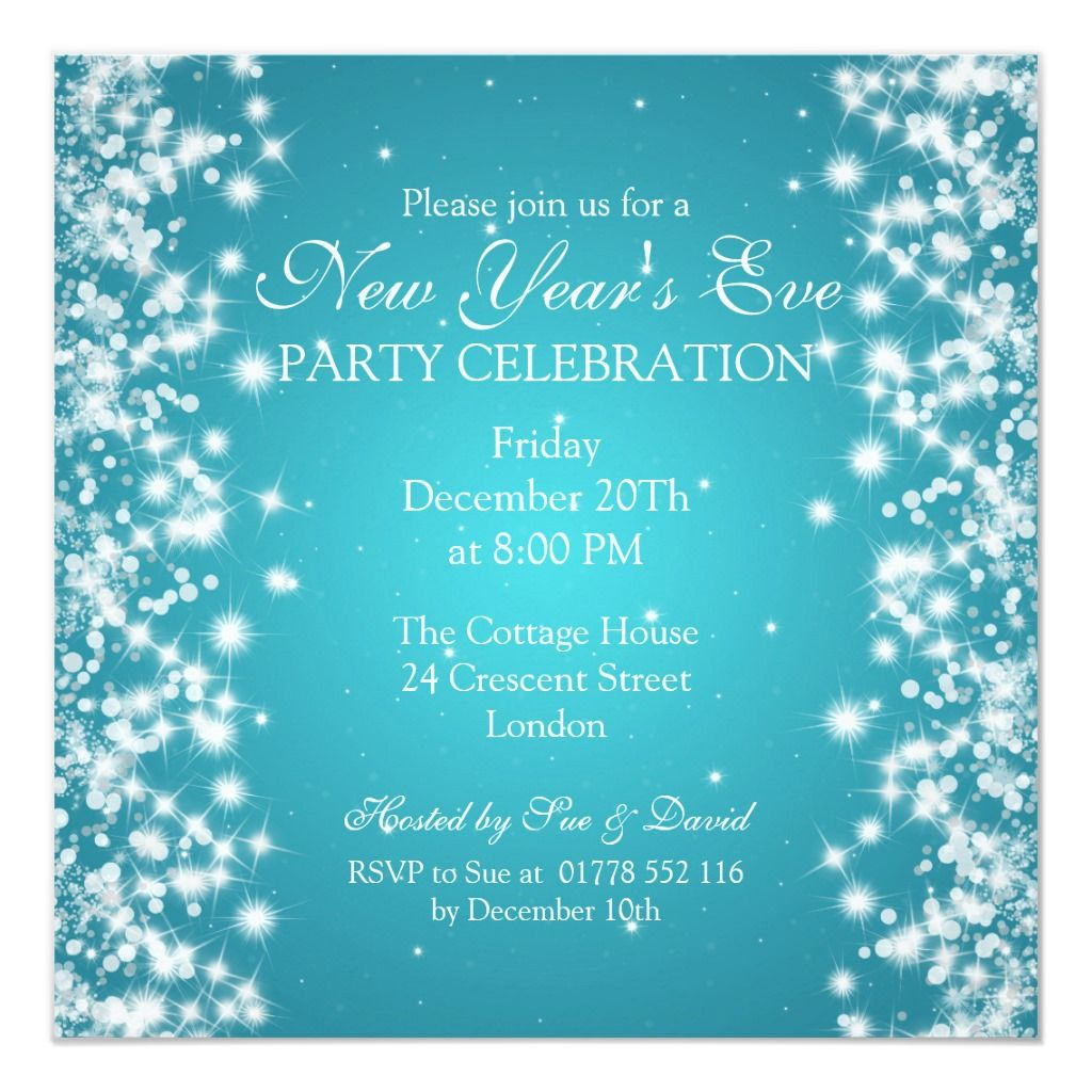 elegant new years eve winter sparkle blue card  new years