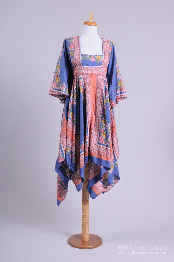 1970 Pinafore Vintage Day Dress : Mill Crest Vintage