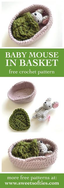 Sweet Softies   Amigurumi and Crochet: Baby Mouse in Moses Basket (Free Crochet Pattern)
